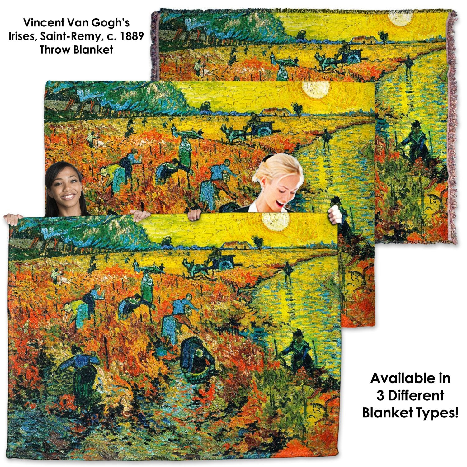 Vincent Van Gogh, The Red Vineyard - Throw Blanket / Tapestry Wall Hanging