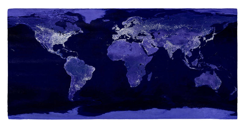 "Earth at Night 30"" x 60"" Microfiber Beach Towel"