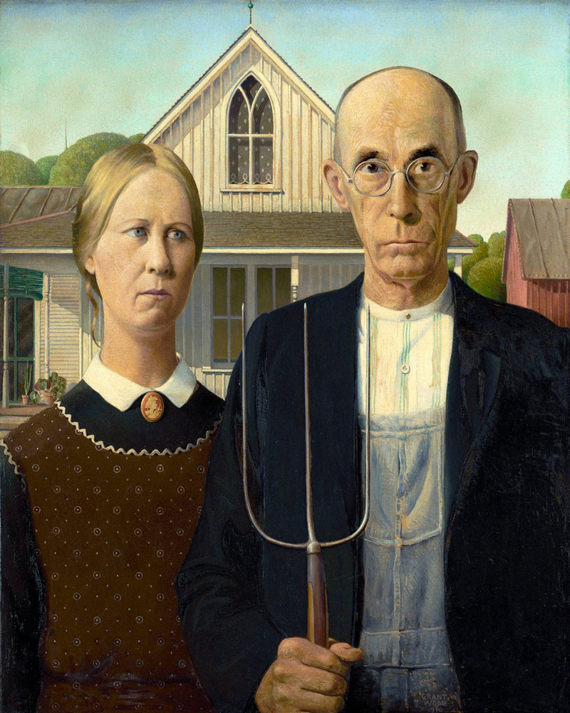 "American Gothic by Grant Wood (18"" x 24"") - Canvas Wrap Print"