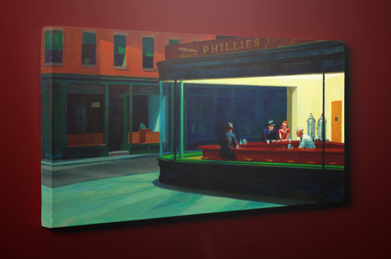"Nighthawks by Edward Hopper (11"" x 20"") - Canvas Wrap Print"