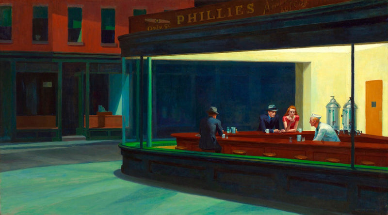 "Nighthawks by Edward Hopper (24"" x 48"") - Canvas Wrap Print"