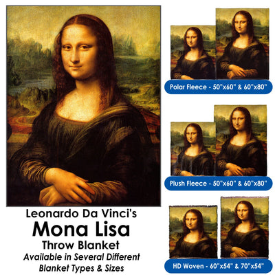 Leonardo Da Vinci's Mona Lisa - Throw Blanket / Tapestry Wall Hanging