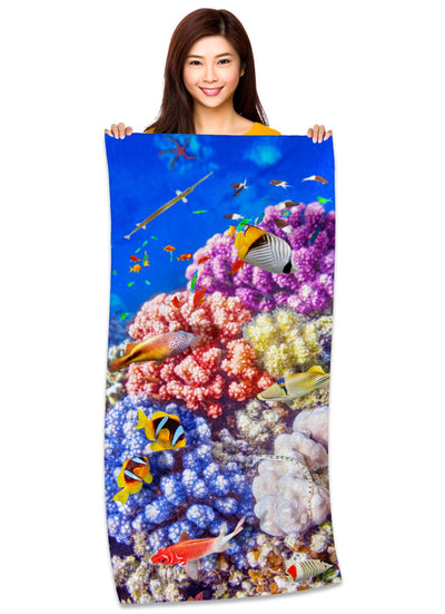 "Caribbean Coral and Tropical Fish, Underwater Photo, 30"" x 60"" Microfiber Beach Towel"