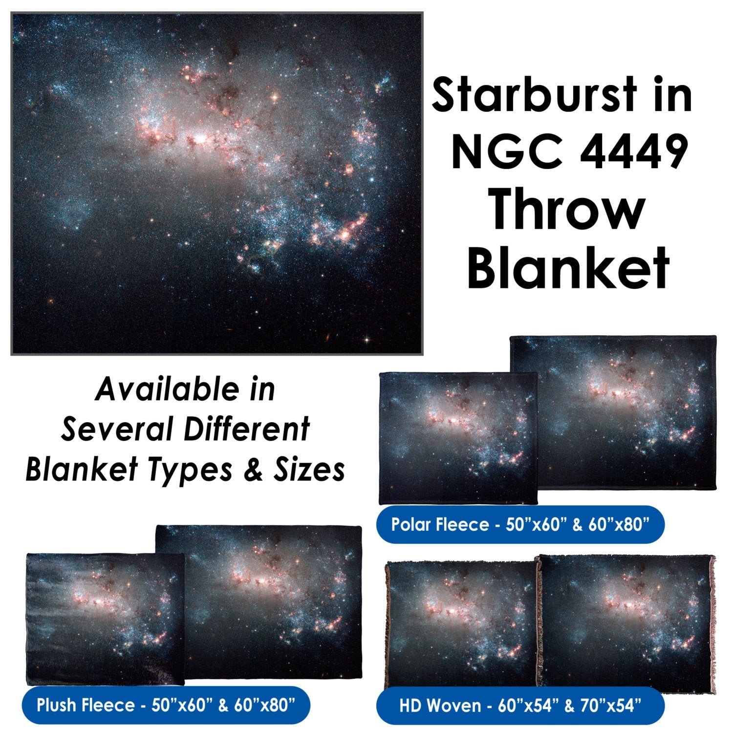 Starburst in NGC 4449 - Throw Blanket / Tapestry Wall Hanging