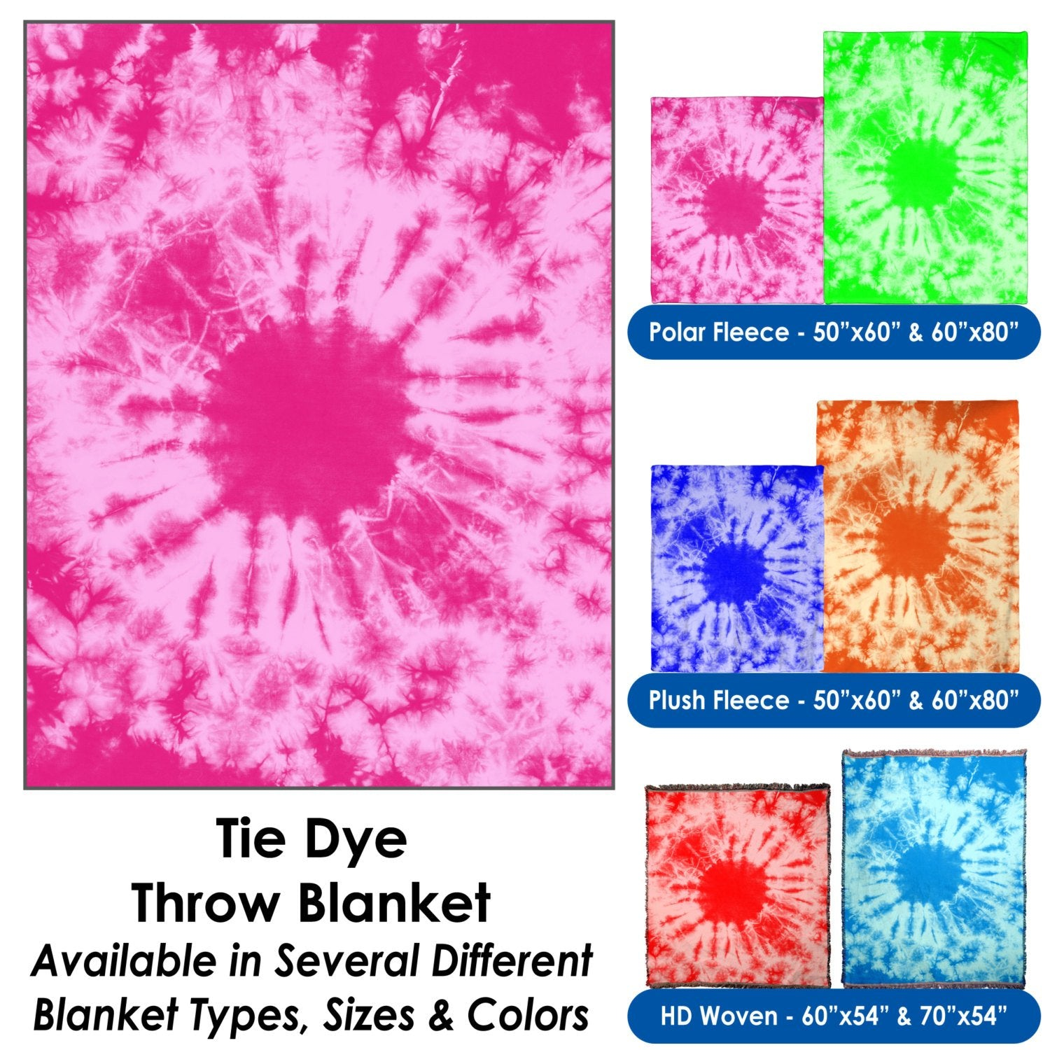 Tie-Dye Pattern Throw Blanket / Tapestry Wall Hanging