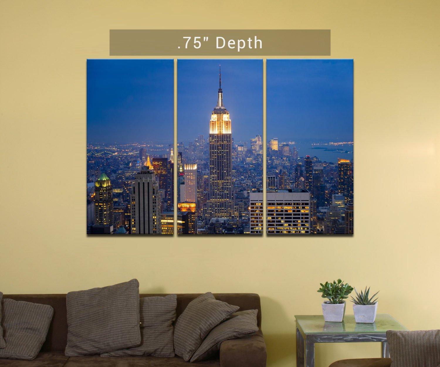 "New York Skyline | Manhattan | Empire State Building - 3 Canvas Split (.75"" Depth)"
