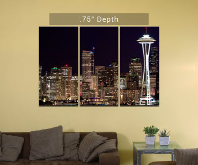 "Seattle Skyline | Space Needle - 3 Canvas Split (.75"" Depth)"
