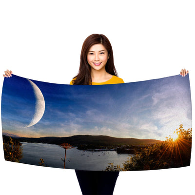 "Sunset on Another World, Panorama, 30"" x 60"" Microfiber Beach Towel"