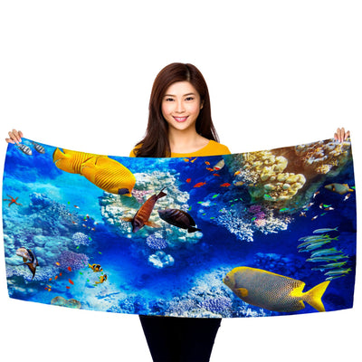 "Coral and Tropical Fish, Underwater Photo, 30"" x 60"" Microfiber Beach Towel"