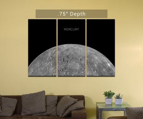 "Planet Mercury- 3 Canvas Split (.75"" Depth)"