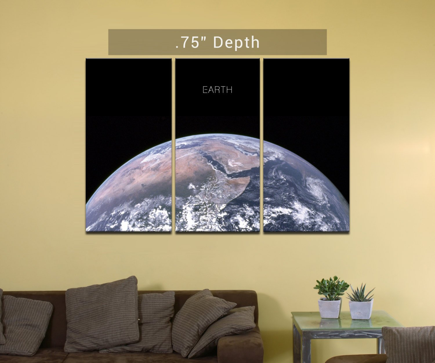 "Planet Earth- 3 Canvas Split (.75"" Depth)"
