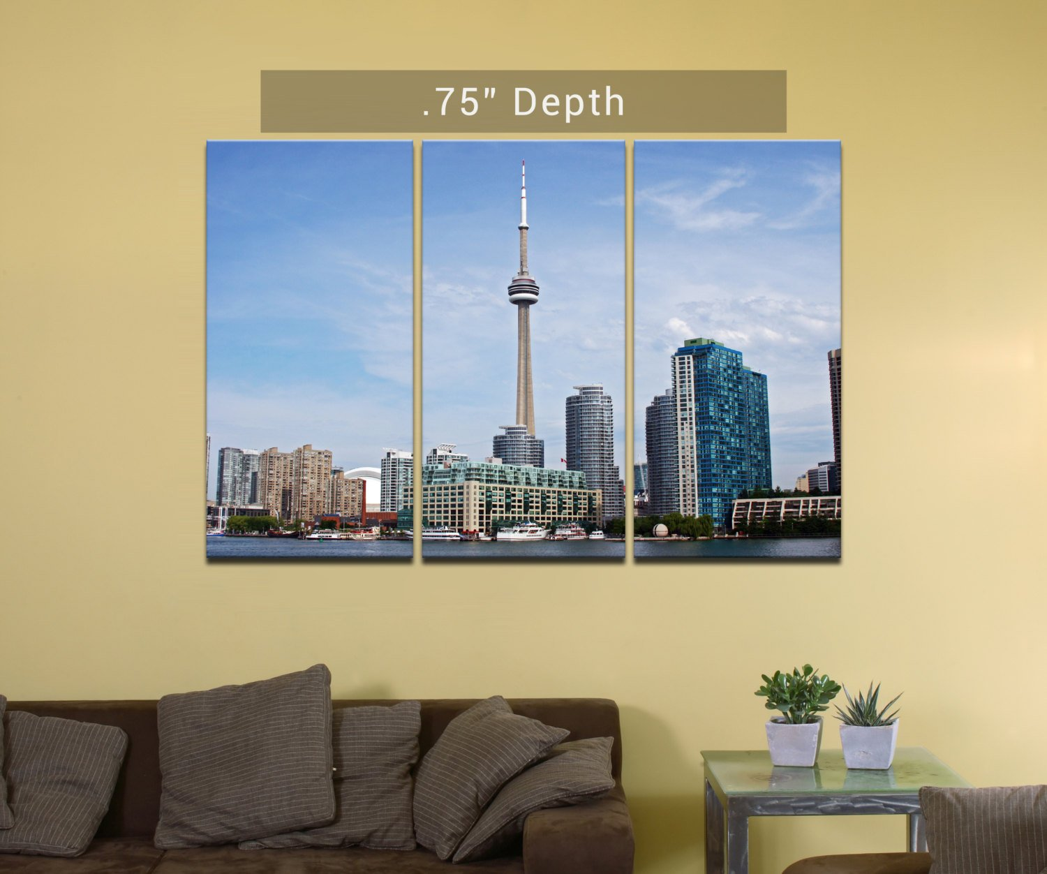 Toronto Skyline / CN Tower – 3 Canvas Split (.75″ Depth)