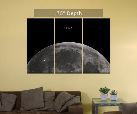 "Luna | Earth's Moon - 3 Canvas Split (.75"" Depth)"