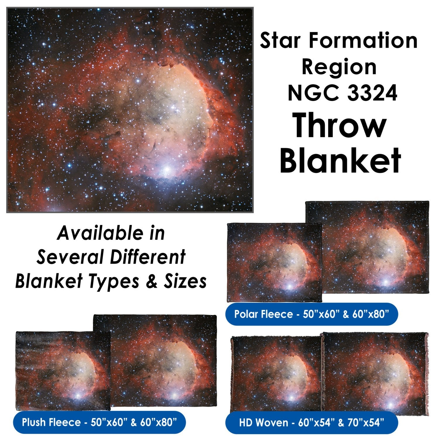 Star Formation Region NGC 3324 – Throw Blanket / Tapestry Wall Hanging