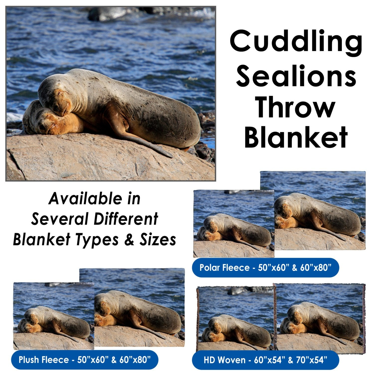South American Sealions Cuddling – Throw Blanket / Tapestry Wall Hanging