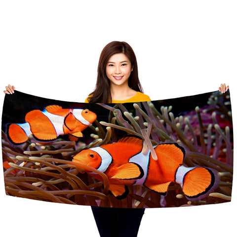 "Clownfish in an Anemone 30"" x 60"" Microfiber Beach Towel"