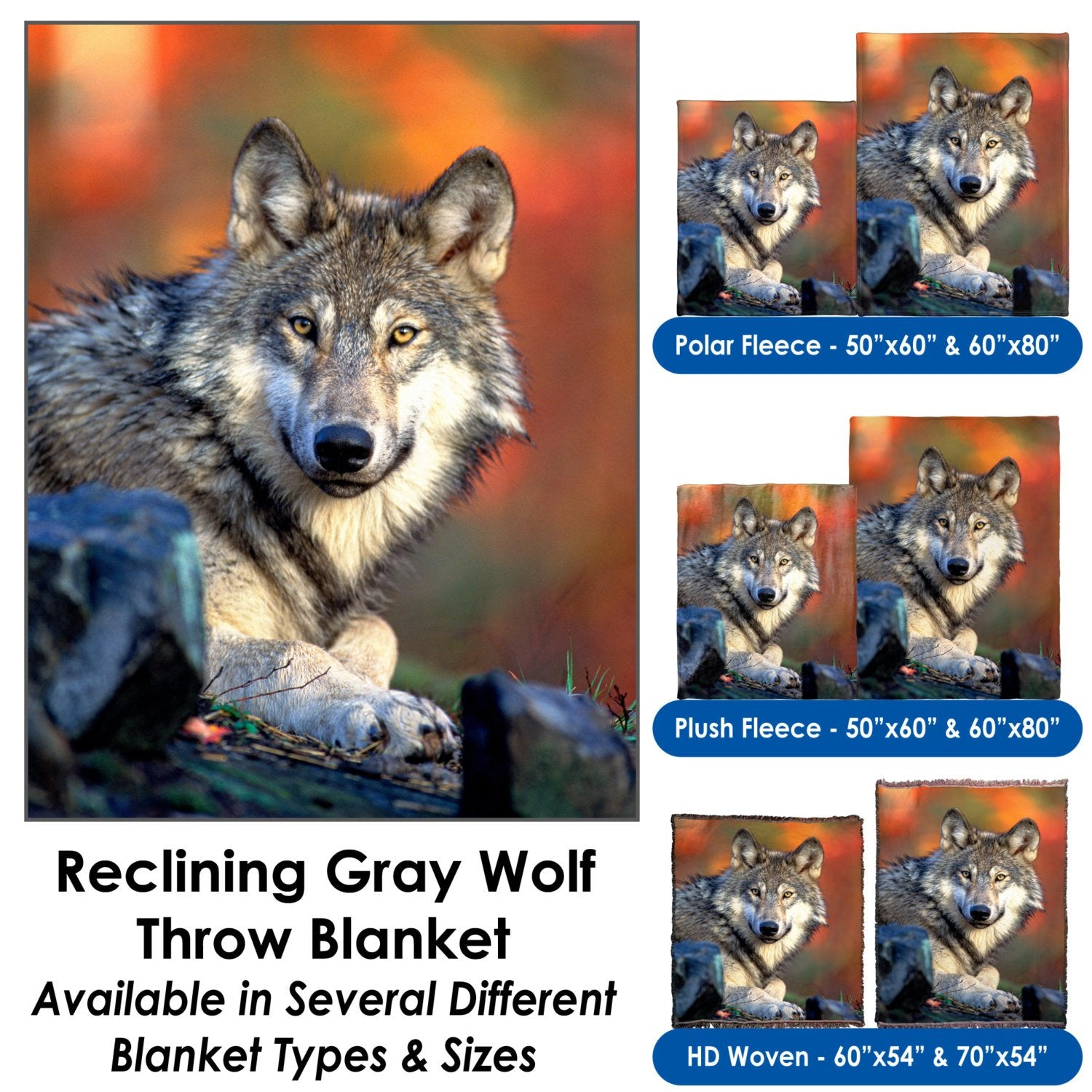 Reclining Gray Wolf – Throw Blanket / Tapestry Wall Hanging