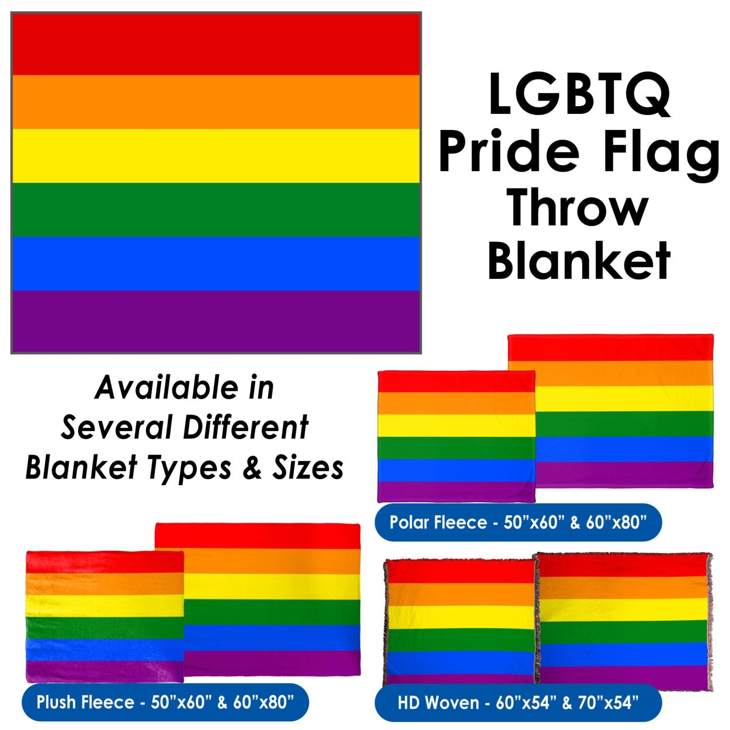 LGBTQ Pride Flag Throw Blanket / Tapestry Wall Hanging