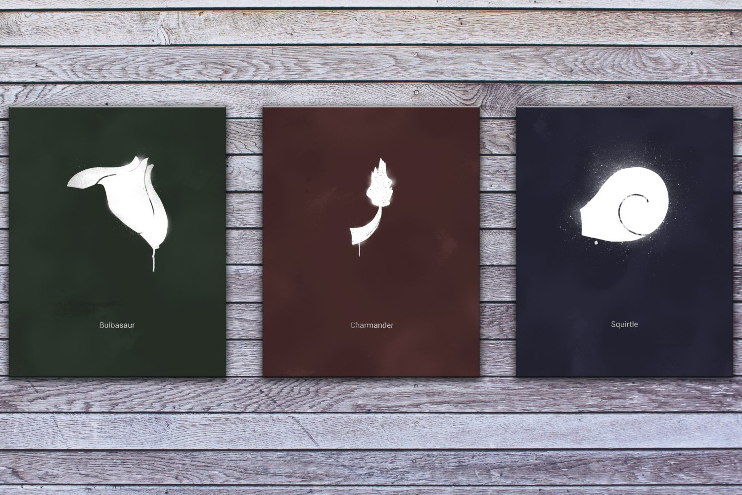 "Minimalist Starter Pokemon, Bundle of Three (24"" x 30"") - Canvas Wrap Print"