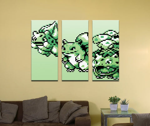 "Pokemon Grass Type Starter (Gen 1) Evolutionary Line - 48"" x 36"" Three-Piece Canvas Wrap Mural"