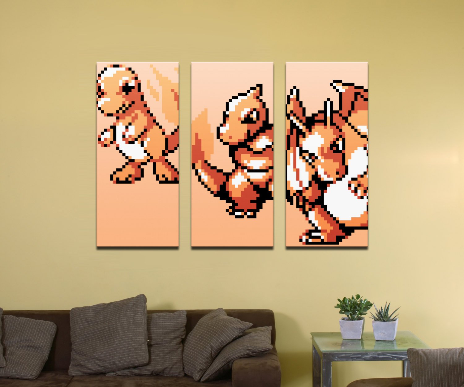 "Pokemon Fire Type Starter (Gen 1) Evolutionary Line - 48"" x 36"" Three-Piece Canvas Wrap Mural"