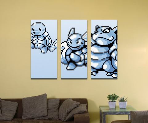 "Pokemon Water Type Starter (Gen 1) Evolutionary Line - 48"" x 36"" Three-Piece Canvas Wrap Mural"