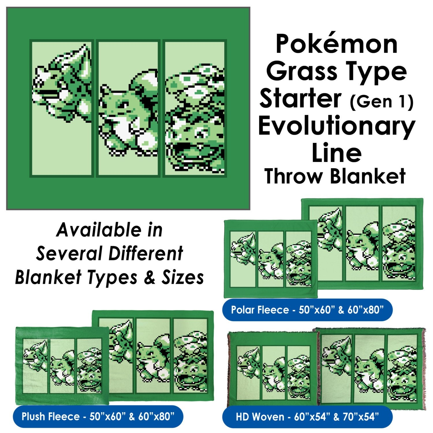 Pokemon Grass Type Starter (Gen 1) Evolutionary Line - Throw Blanket / Tapestry Wall Hanging