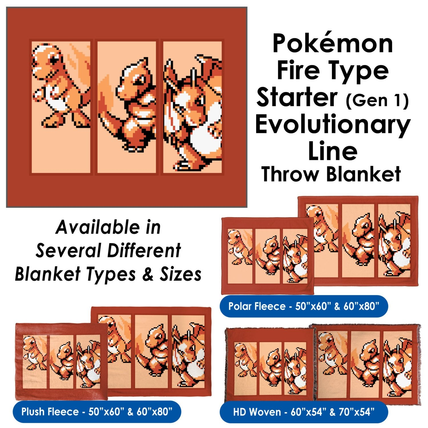 Pokemon Fire Type Starter (Gen 1) Evolutionary Line - Throw Blanket / Tapestry Wall Hanging