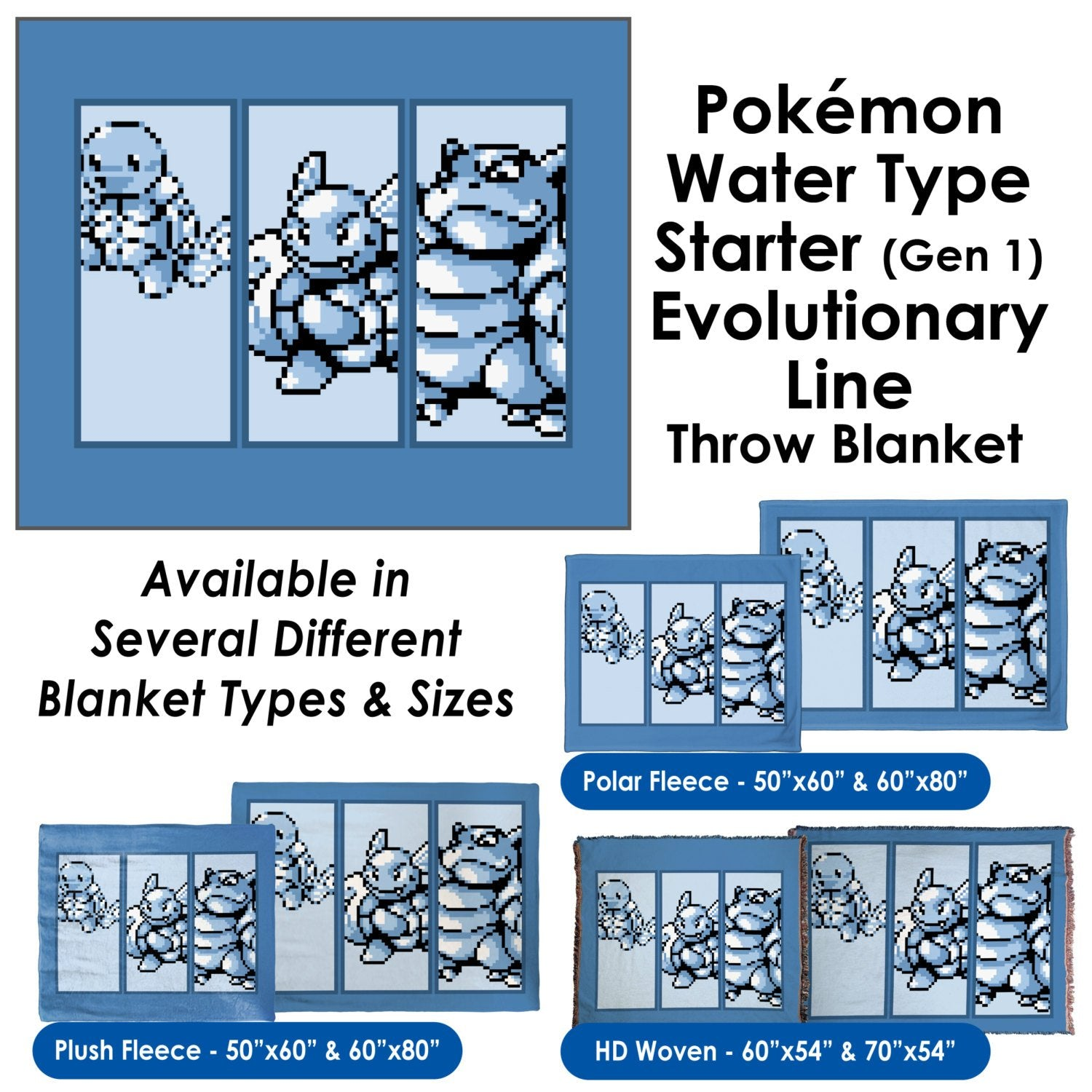 Pokemon Water Type Starter (Gen 1) Evolutionary Line - Throw Blanket / Tapestry Wall Hanging