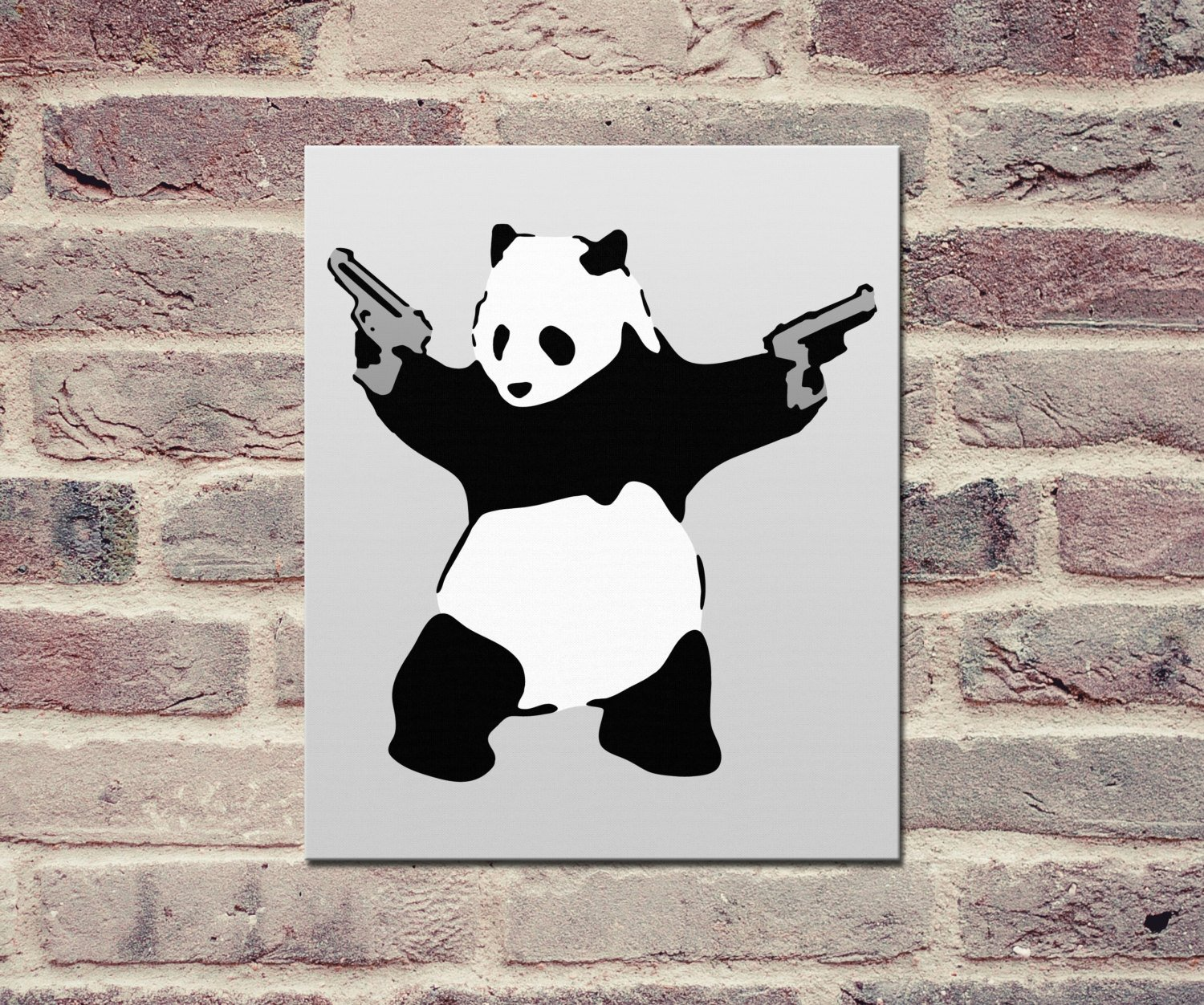 "Banksy, Panda with Guns (24"" x 36"") - Canvas Wrap Print"
