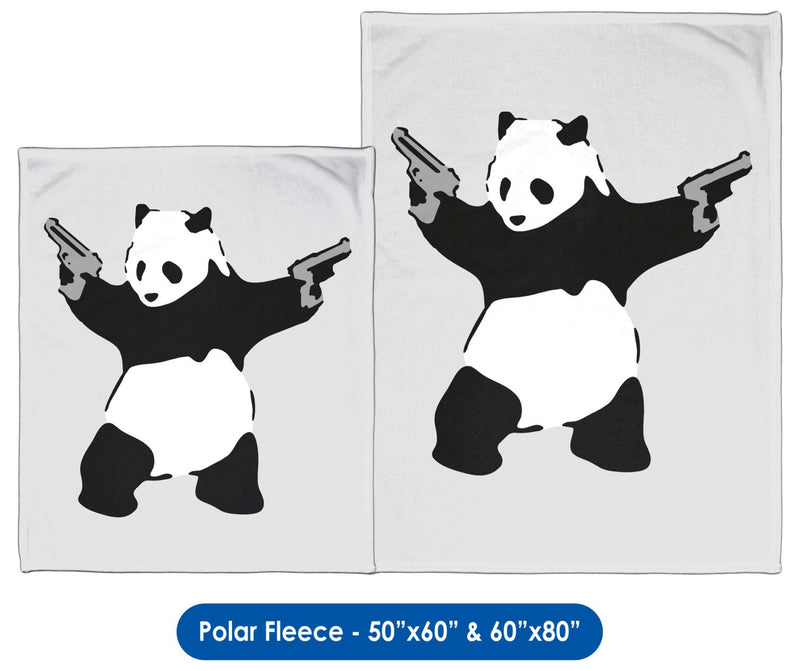 Banksy, Panda with Guns - Throw Blanket / Tapestry Wall Hanging
