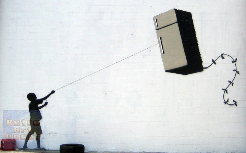 "Banksy, Fridge Kite (8"" x 10"") - Canvas Wrap Print"