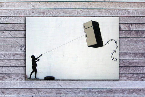 "Banksy, Fridge Kite (12"" x 18"") - Canvas Wrap Print"