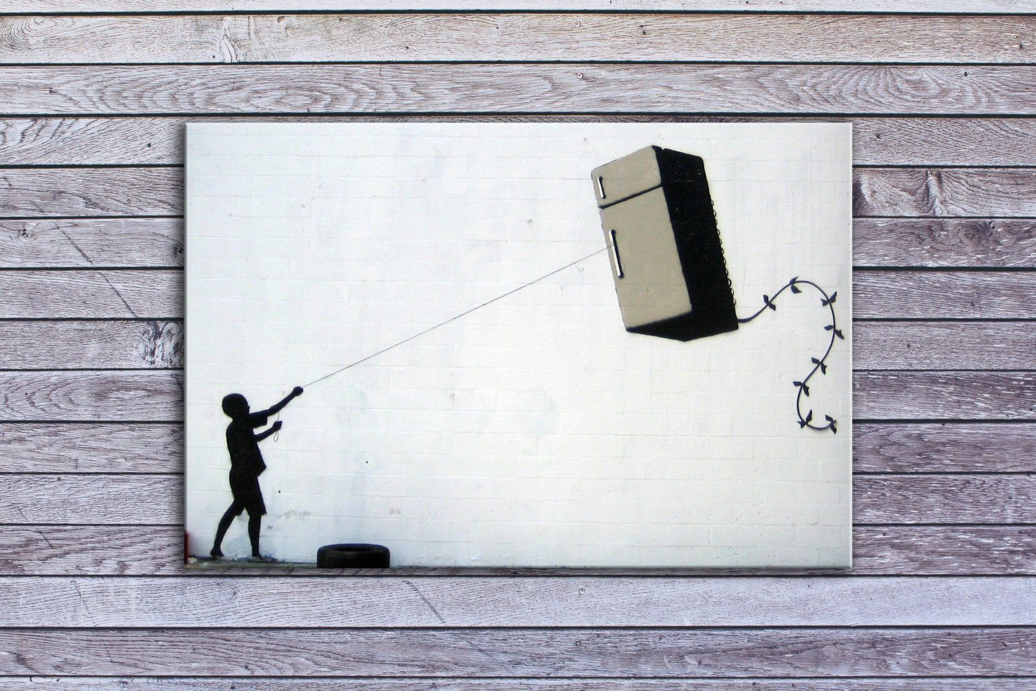 "Banksy, Fridge Kite (18"" x 24"") - Canvas Wrap Print"