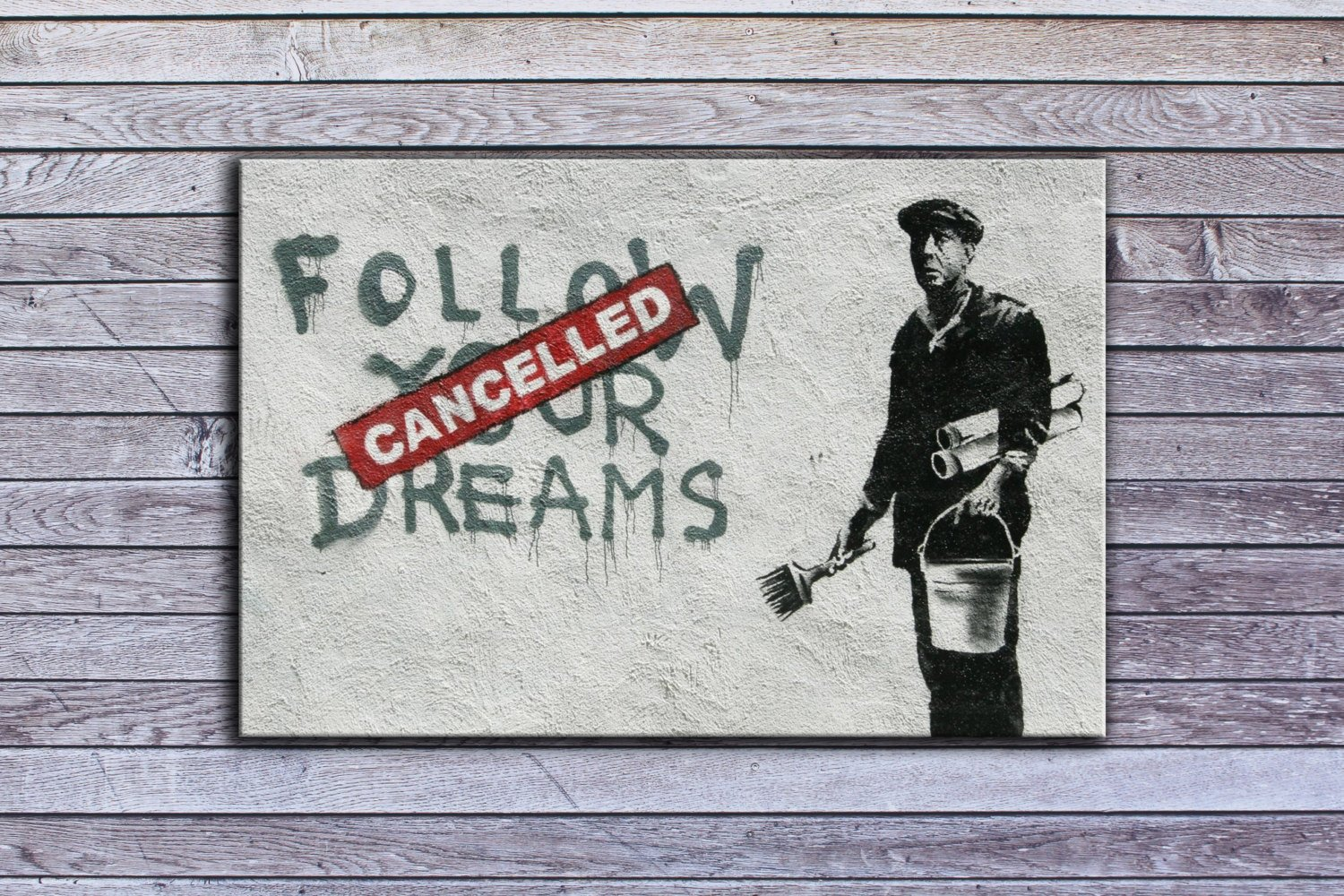 "Banksy, Cancelled Dreams (18"" x 24"") - Canvas Wrap Print"