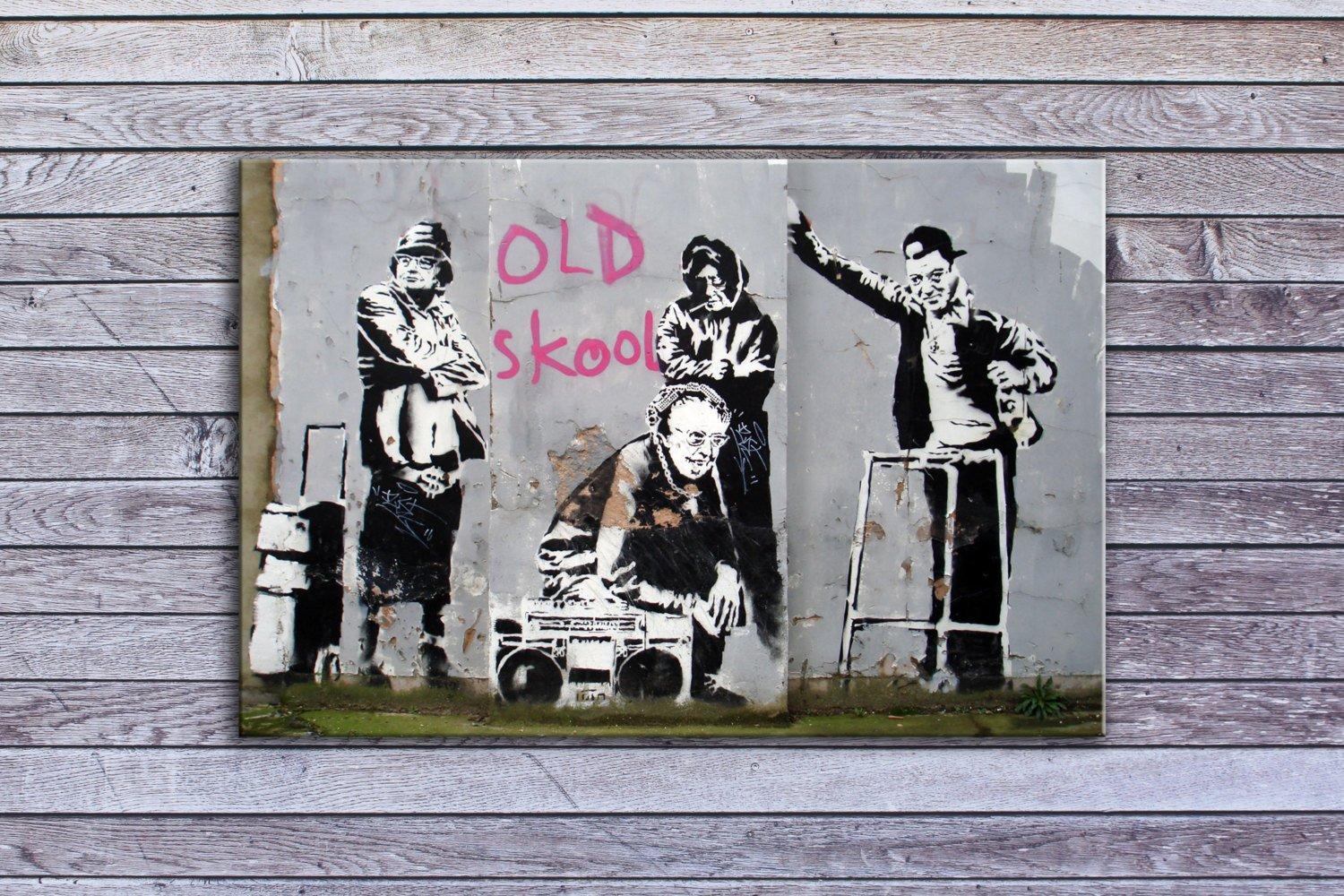 "Banksy, Old Skool Elders (8"" x 10"") - Canvas Wrap Print"