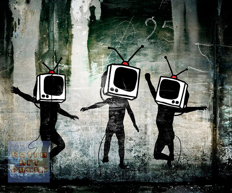 "Banksy, TV Heads (11"" x 14"") - Canvas Wrap Print"