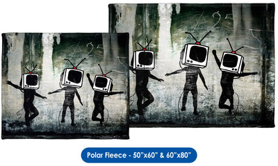 Banksy, TV Heads - Throw Blanket / Tapestry Wall Hanging