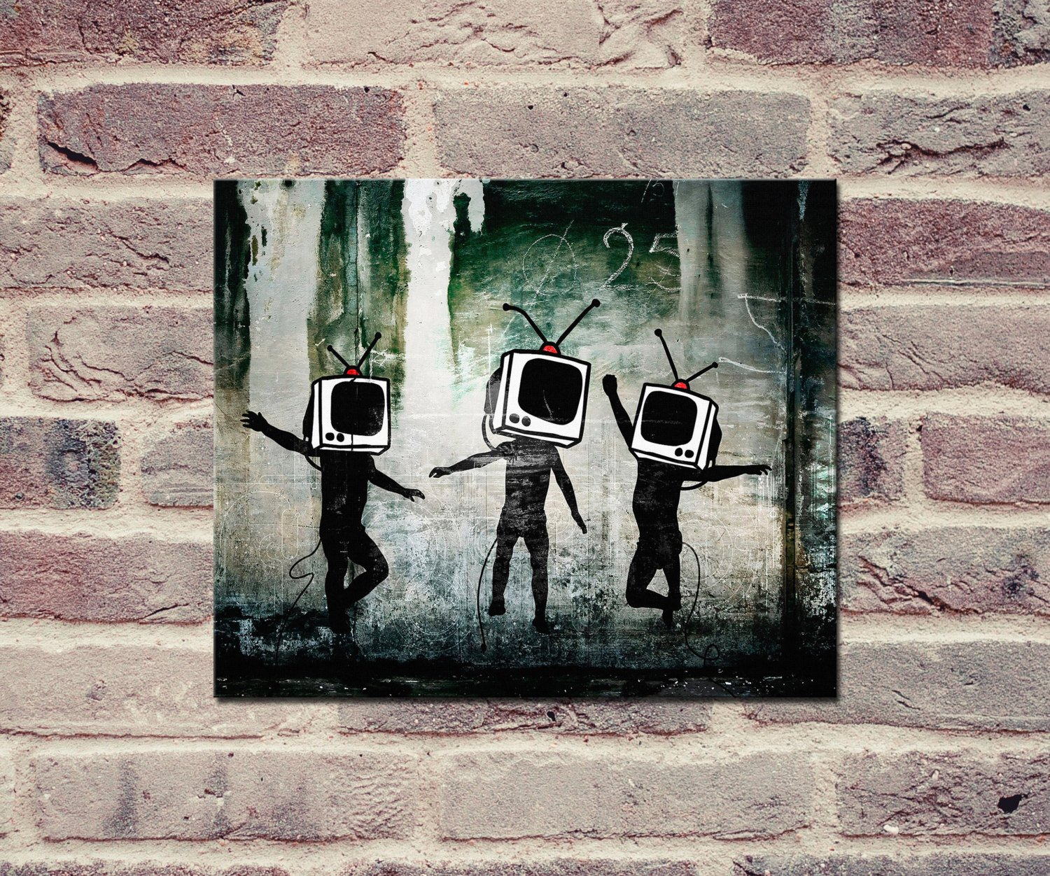 "Banksy, TV Heads (8"" x 10"") - Canvas Wrap Print"