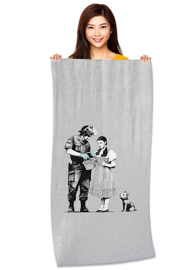 "Banksy, Dorothy Police Search 30"" x 60"" Microfiber Beach Towel"