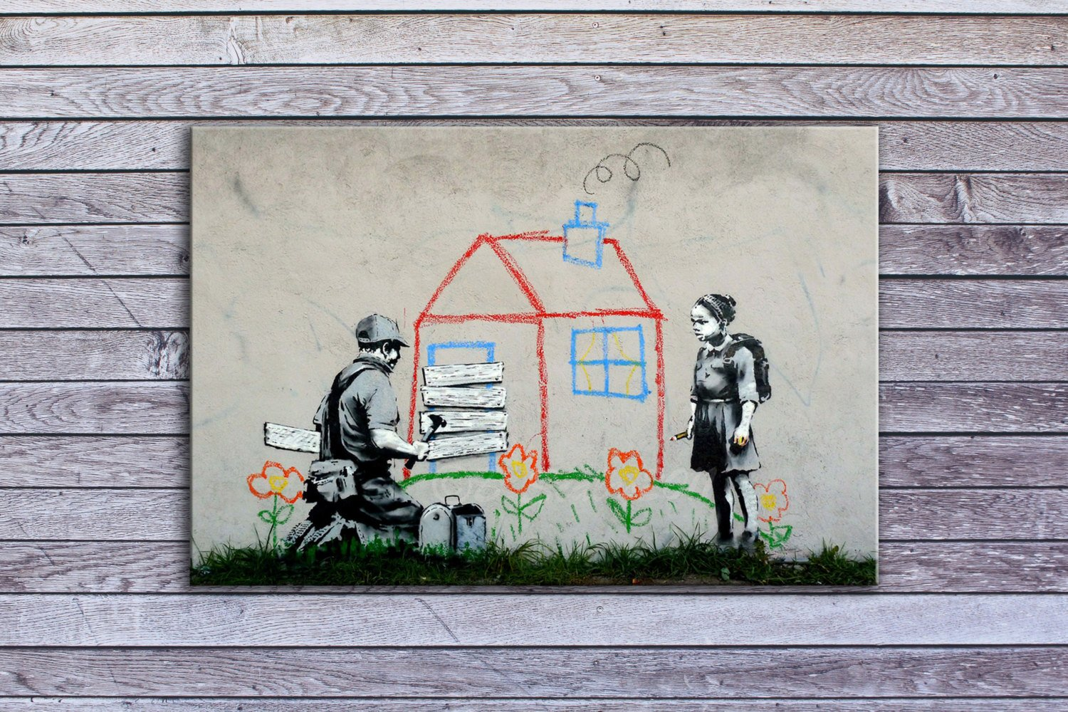 "Banksy, Boarded Playhouse (12"" x 18"") - Canvas Wrap Print"