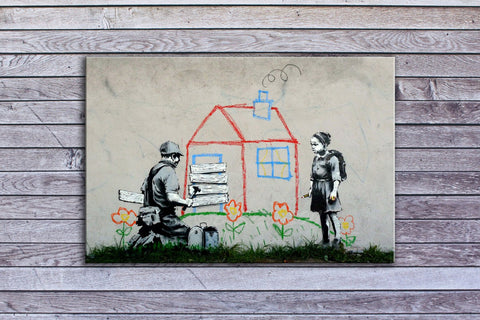"Banksy, Boarded Playhouse (12"" x 20"") - Canvas Wrap Print"