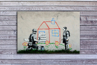 "Banksy, Boarded Playhouse (18"" x 24"") - Canvas Wrap Print"