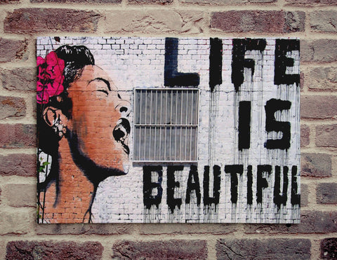 "Banksy, Life is Beautiful (11"" x 16"") - Canvas Wrap Print"