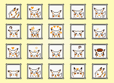 "Pokemon Yellow, Pikachu Faces (8"" x 10"") - Canvas Wrap Print"
