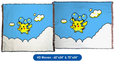 Pokemon Yellow, Flying Pikachu - Throw Blanket / Tapestry Wall Hanging