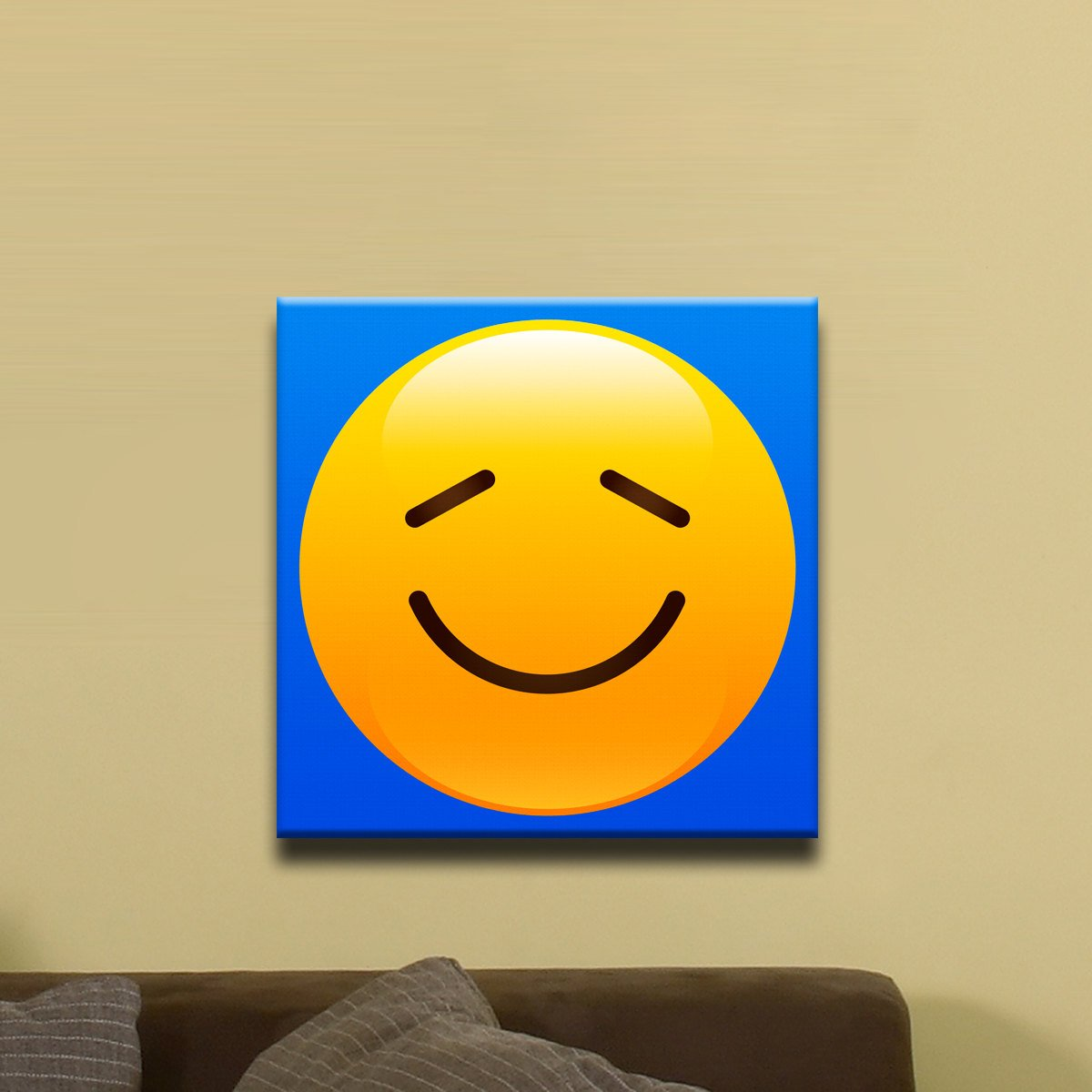 "Content Face Shiny Emoji (12"" x 12"") - Canvas Wrap Print"
