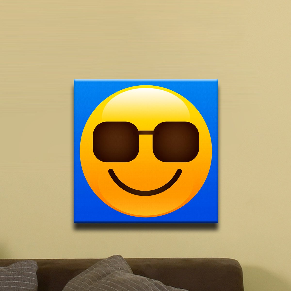 "Sunglasses, Smiley Face Shiny Emoji (12"" x 12"") - Canvas Wrap Print"