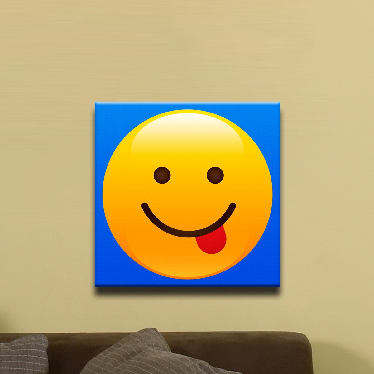 Tongue Sticking Out Shiny Emoji (12″ x 12″) – Canvas Wrap Print