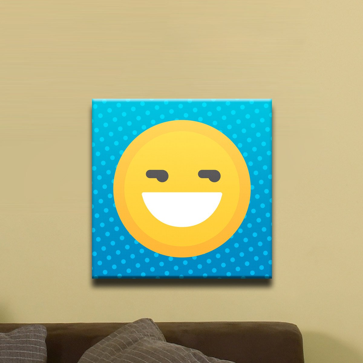 "Big Grin, Smiley Face Emoji (12"" x 12"") - Canvas Wrap Print"